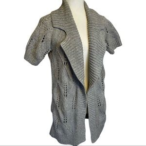 Theory Open Front Chunky Knit Grey Cardigan